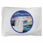 Rocks-Sea-White Arabian Horse 2 Pillow Sham