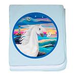 Rocks-Sea-White Arabian Horse 2 baby blanket