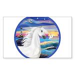 Rocks-Sea-White Arabian Horse 2 Sticker (Recta