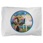 St Francis - White Arabian Horse Pillow Sham