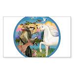 St Francis - White Arabian Horse Sticker (Rect