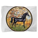 Spring (Monet) - Black Arabian Horse Pillow Sh