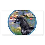 ORN-Lilies2-Black ArabianHorse Sticker (Rectan