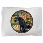 Birth of Venus - Black Arabian Horse Pillow Sh