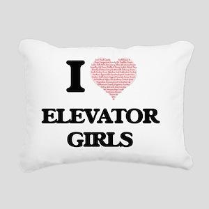 I love Elevator Girls (H Rectangular Canvas Pillow