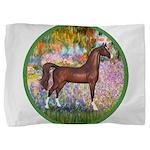 Garden (Monet) - Brown Arabian Horse Pillow Sh