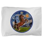 Starry Night - Brown Horse Rearing Pillow Sham