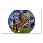 Starry Night - Brown Horse Rearing Sticker (Re