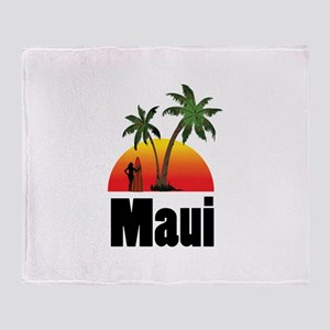 Maui Surfing Throw Blanket