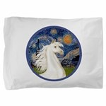 Starry Night - White Arabian Horse Portrait Pi