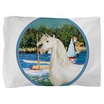 Sailboats (Monet) - White Arabian Horse Pillow