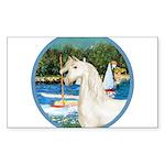 Sailboats (Monet) - White Arabian Horse Sticke