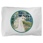 Bridge (Monet) - White Arabian Horse Pillow Sh