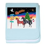 XmsSigns/3 Horses (Ar) baby blanket