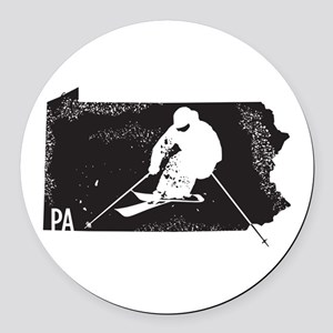 Ski Pennsylvania Round Car Magnet