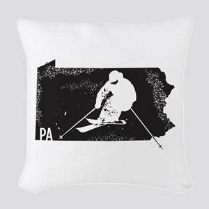 Ski Pennsylvania Woven Throw Pillow