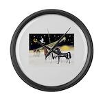 XmsDove/3 Horses (Ar) Large Wall Clock