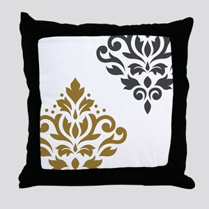 Scroll Damask Art I GGW Throw Pillow
