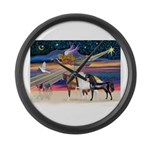 XmsStar/3 Horses (Ar) Large Wall Clock