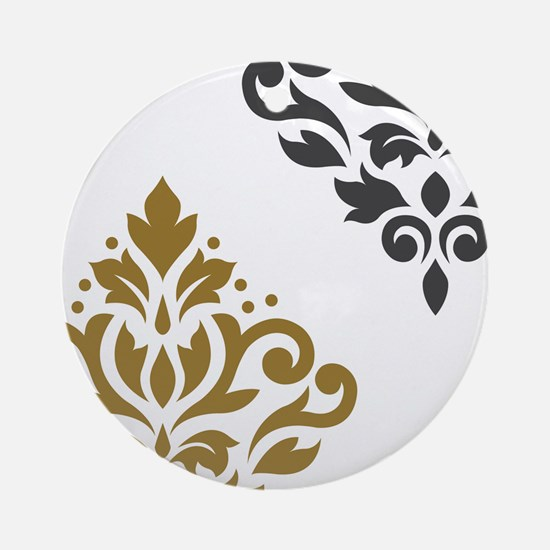 Scroll Damask Art I GGW Round Ornament