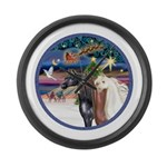 XmsMagic/3 Horses (Ar) Large Wall Clock