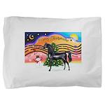 Christmas Music 2 = Black Arabian Horse Pillow