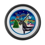 XmasMusic3/Horse (Ar-blk) Large Wall Clock
