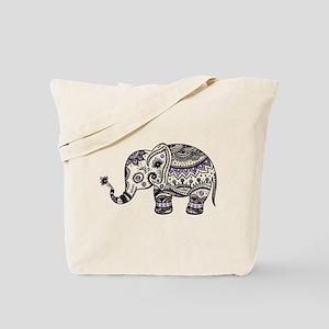 Cute Black & Purple Floral Elephant Illus Tote Bag