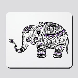 Cute Black & Purple Floral Elephant Illu Mousepad
