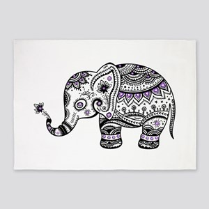 Cute Black & Purple Floral Elephant 5'x7'Area Rug