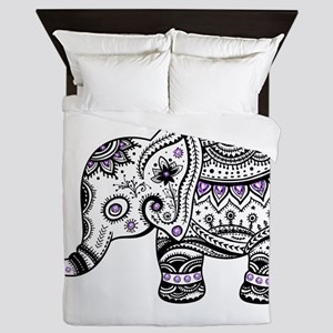 Cute Black & Purple Floral Elephant Il Queen Duvet
