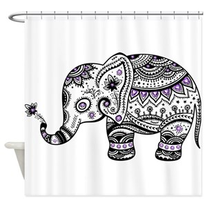 Purple Elephants Shower Curtains
