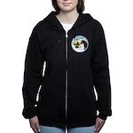 Take Off1/ Horse (Ar-blk ) Women's Zip Hoodie