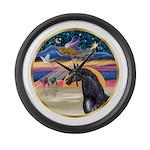 Xmas Star / Arabian Horse (bl Large Wall Clock