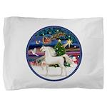 Christmas Magic - White Arabian Horse Pillow S