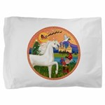 Xmas Fantasy - White Arabian Horse Pillow Sham