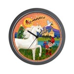 Xmas Fantasy - White Arabian Horse Wall Clock