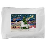 2-Christmas Magic - White Arabian Horse Pillow