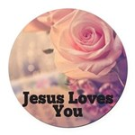 Jesus Loves you Round Car Magnet