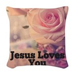 Jesus Loves you Woven Throw Pillow