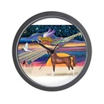 Christmas Star - Brown Arabian Horse Wall Cloc