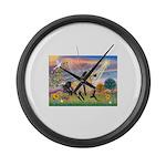 Cloud Star & Buckskin horse Large Wall Clock