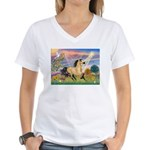 Cloud Star & Buckskin horse Women's V-Neck