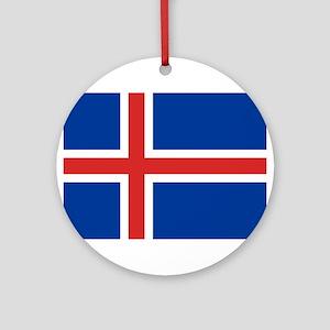 Iceland Flag Round Ornament
