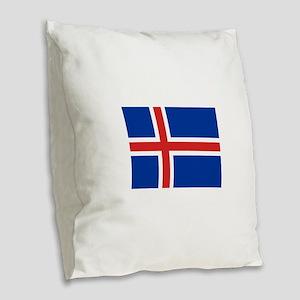 Iceland Flag Burlap Throw Pillow