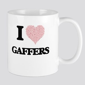 I love Gaffers (Heart made from words) Mugs