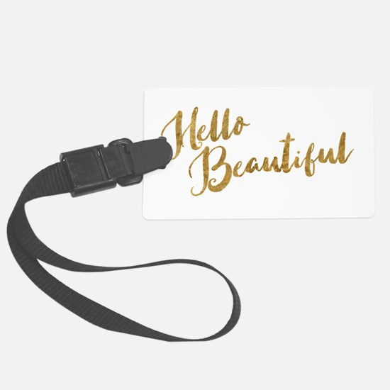 Hello Beautiful Faux Gold Luggage Tag