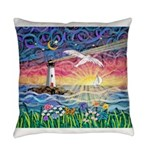 Lighthouse Seagull Everyday Pillow