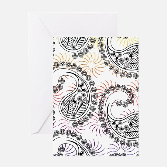 Funky Pinwheel Paisley Design Greeting Cards