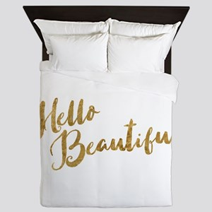 Hello Beautiful Faux Gold Queen Duvet